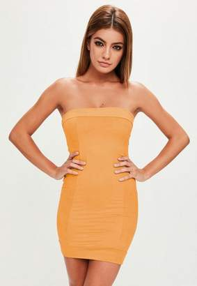 Missguided Yellow Faux Suede Bandeau Dress, Yellow