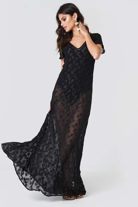 Na Kd Boho Sheer Glitter V-Neck Maxi Dress