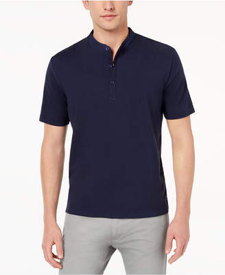 Daniel Hechter Paris Men's Aston Mix-Media Banded-Collar Polo, Created for Macy's