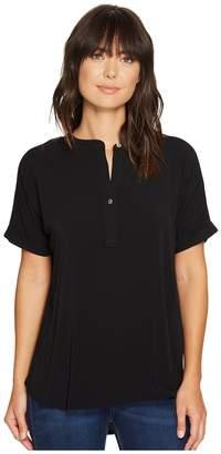 Allen Allen Tab Collar High-Low Henley Top Women's Clothing