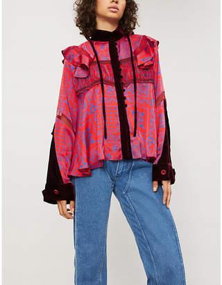 Sacai Ruffled velvet and chiffon shirt