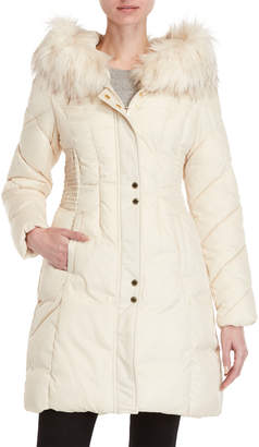 Via Spiga Faux Fur Trim Hooded Coat