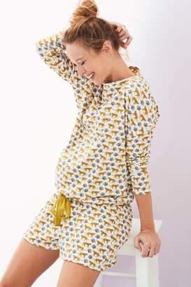 Next Womens Cream Leopard Maternity Short Set - White