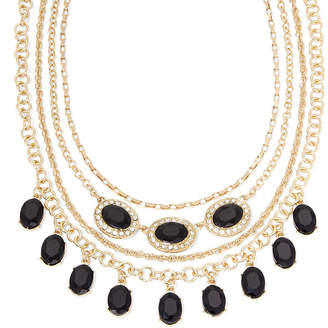clear MONET JEWELRY Monet Black and Crystal Layered Necklace