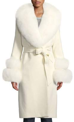 Sofia Cashmere Fur Shawl-Collar & Double-Cuff Coat
