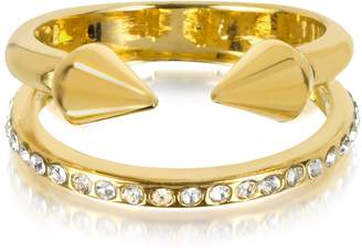 Vita Fede Ultra Mini Gold Tone Titan Band Ring w/Crystals