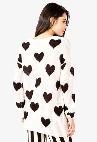 Forever 21 Open-Knit Heart Print Sweater