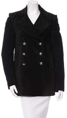 Balmain Suede Double-Breasted Coat