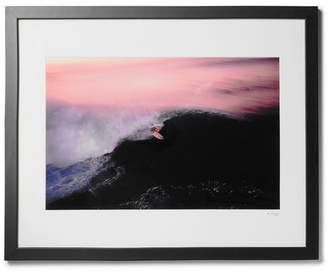 Sonic Editions Framed 1990 Walter Iooss Surfer In Pipeline Print, 16 X 20