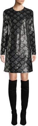 MICHAEL Michael Kors Long-Sleeve Sequined Shift Dress