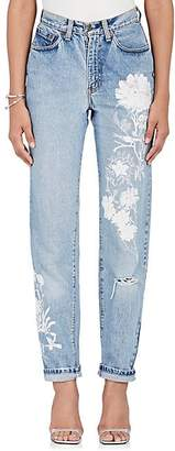 Alice Archer Women's Floral-Embroidered Straight Jeans - Blue