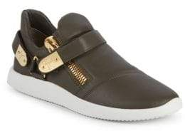 Giuseppe Zanotti Padded Double Zip Leather Low-Top Sneakers