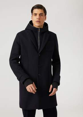 Emporio Armani Technical Fabric Coat With Hood, Bib Front With Zip And Cuffs