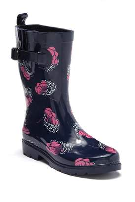 Capelli of New York Floral Drop Printed Rubber Mid Rain Boot