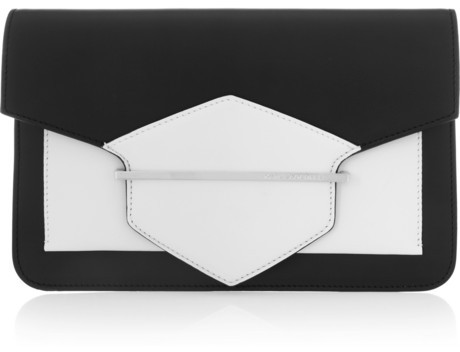 Karl Lagerfeld K/Khic two-tone leather clutch