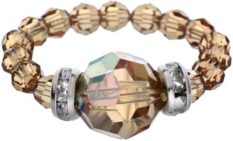Swarovski Crystal Avenue Silver-Plated Crystal Bead Stretch Ring - Made with Crystals