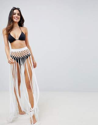 Asos DESIGN slinky fringed knotted beach sarong skirt in white