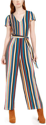 BeBop Juniors' Belted Striped Tie-Back Jumpsuit