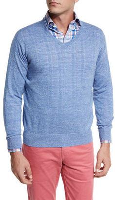 Peter Millar Lightweight Wool-Linen V-Neck Sweater $145 thestylecure.com