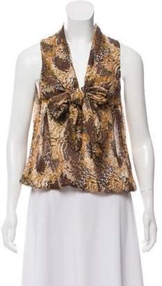 Elizabeth and James Silk Leopard Print Sleeveless Top