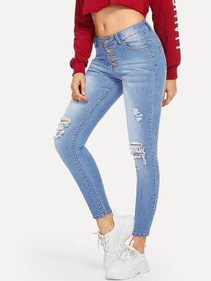 dd6fc18b73 Shein Ripped Faded Wash Button Fly Jeggings