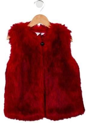 Little Marc Jacobs Girls' Faux Fur Crew Neck Vest Girls' Faux Fur Crew Neck Vest