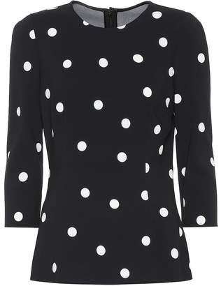 Dolce & Gabbana Polka-dot stretch-crepe top
