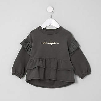 River Island Mini girls 'beautiful' peplum sweatshirt