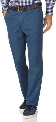 Charles Tyrwhitt Bright Blue Slim Fit Flat Front Washed Cotton Chino Pants Size W32 L32