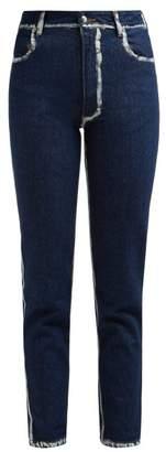 Eckhaus Latta Painted Seam Cropped Skinny Jeans - Womens - Blue