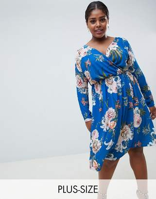 Missguided Plus wrap midi dress in blue floral