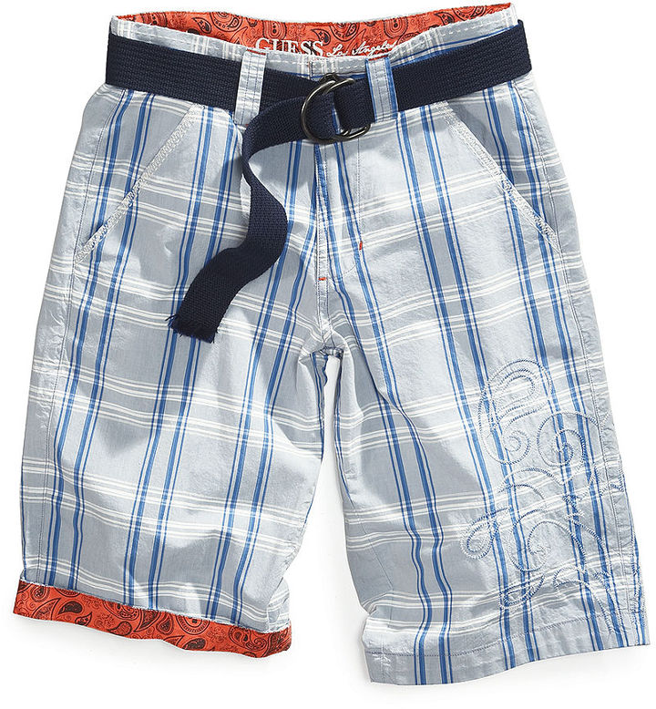 GUESS Little Boys' Gramercy Plaid Belted Shorts
