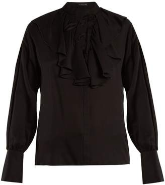 Etro Fluted-bib jacquard silk blouse