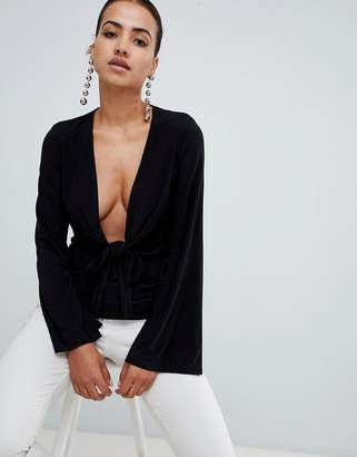 Club L long sleeve tie front plunge top