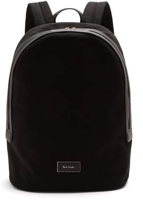 Paul Smith Logo-print leather-trimmed canvas backpack