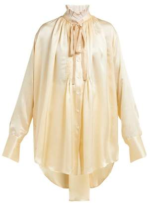 Ann Demeulemeester Pleated High Neck Ruched Silk Shirt - Womens - Cream