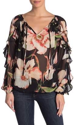 Karen Kane Ruffle Sleeve Floral Woven Blouse