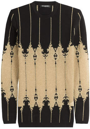 Balmain Knit Pullover with Metallic Thread