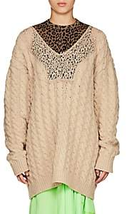 Balenciaga WOMEN'S CABLE-KNIT WOOL-BLEND OVERSIZED SWEATER-CAMEL SIZE 36 FR