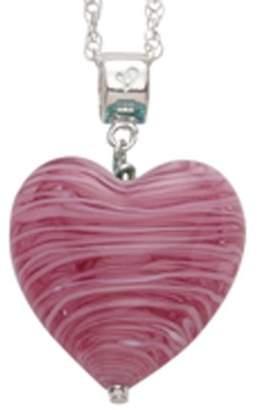 Glass Heart Bellissi Murano Venezia Small Murano Black and Blue Pendant with Sterling Silver Chain of Length 46 cm