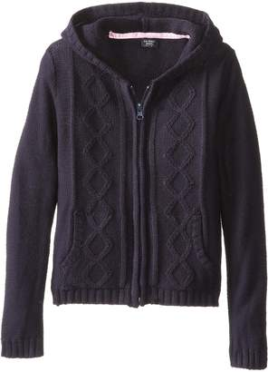 U.S. Polo Assn. U.S. Polo Association Little Girls' Sweater Jacket with Hood