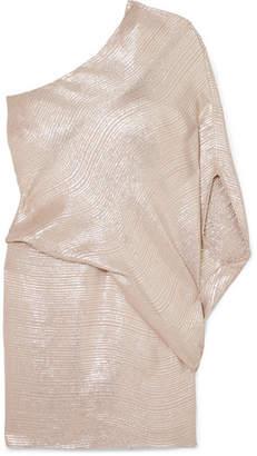 Halston One-shoulder Metallic Jacquard Mini Dress - Gold
