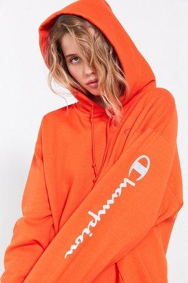 Champion + UO Powerblend Reflective Hoodie Sweatshirt $65 thestylecure.com
