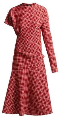 Calvin Klein Asymmetric Checked Dress - Womens - Red Multi