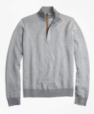 Brooks Brothers Supima Cotton Cashmere Houndstooth Half-Zip Sweater