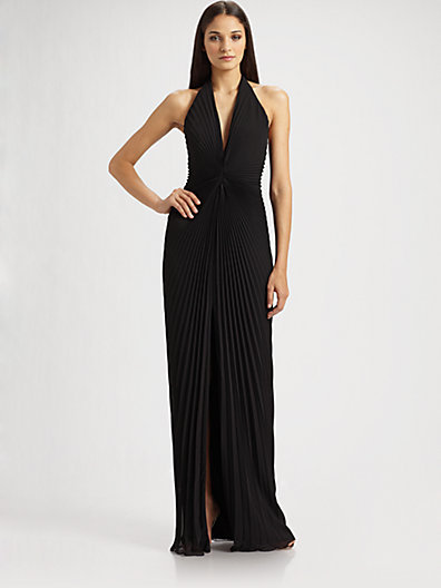 Carmen Marc Valvo Accordion Pleated Halter Gown