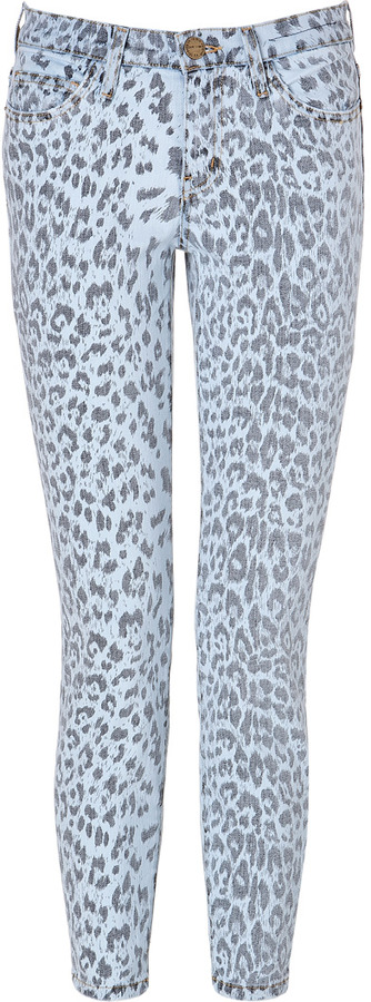 Current/Elliott Stiletto Low Rise 7/8 Jeans in Bleached Out Leopard