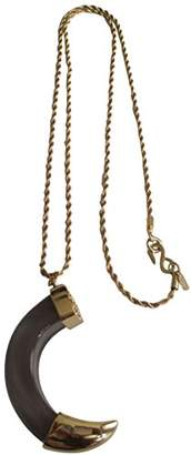 Kenneth Jay Lane Transparent Smokey Resin Horn Pendant Gold Plated Chain Necklace