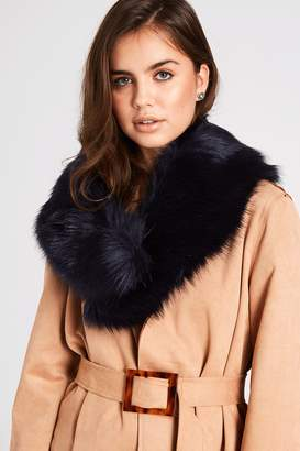 Navy Fur Stole Collar