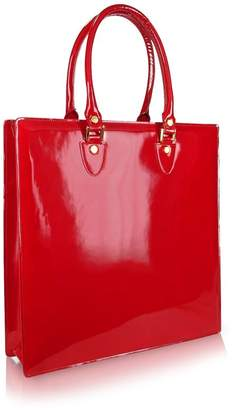 L.a.p.a. Ruby Red Patent Leather Tote Bag